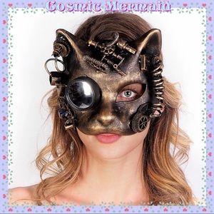 🆕🧡Steampunk Cat Goggle Monocle Mask🧡Golden Tone